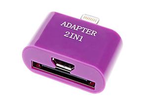 """Переходник 2 в 1 """"LP"""" для Apple с 30 pin/micro USB на 8 pin lighting (сиреневый/европакет)"""