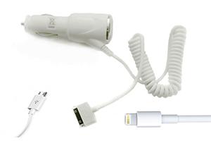 """АЗУ """"Car-Charger"""" 4 в 1 1000мА (Apple 8 pin, Apple 30 pin, Samsung Tab, Micro USB) (белый/блистер)"""