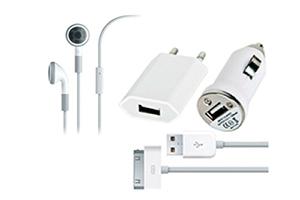 Набор 4 в 1 для iPhone/iPod/iPad (сеть/авто/кабель/наушники)
