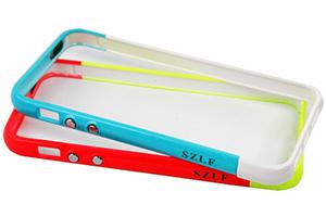 """Bumper для iPhone 5 """"LF"""" (пластик/салатовый/красный/упаковка прозрачный бокс)"""