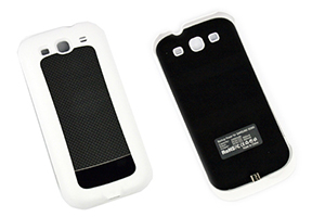 """Дополнительная АКБ защитная крышка для Samsung i9300 """"Backup Power"""" 2400mA (белый/черный)"""