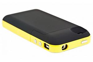 """Дополнительная АКБ защитная крышка для iPhone 4/4S """"Mophie"""" 2000mAh (черная/желтая)"""