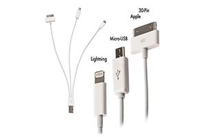 АЗУ 3 в 1 для Apple 8 pin/Apple 30 pin/Micro USB 2.1 A