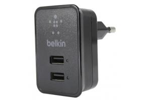 """СЗУ """"Belkin"""" 2,1A (F8J053ettBLK) с двумя USB выходами + кабель Apple 8 pin (черный)"""