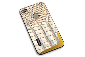Задняя крышка для iPhone 4S текстура (Кожа крокодила золотая) (упаковка прозрачный бокс)