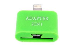 "Переходник 2 в 1 ""LP"" для Apple с 30 pin/micro USB на 8 pin lighting (зеленый/европакет)"