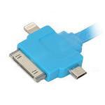 USB Дата-кабель 3 в 1 (micro USB/Apple 30pin/Apple 8pin/LED индикатор) (плоский синий/европакет)