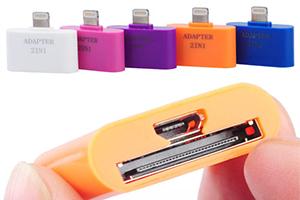 """Переходник 2 в 1 """"LP"""" для Apple с 30 pin/micro USB на 8 pin lighting (синий/европакет)"""