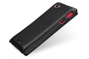 Задняя крышка-флип для Sony Xperia S (черная кожа) (упаковка пакет)