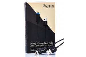 USB кабель передачи данных с LED индикатором процесса заряда разъем Apple 8 pin (Zetton ZTUSB1LA8)
