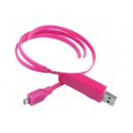 "LED USB Дата-кабель ""Micro USB"" (розовый/коробка)"