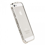 Bumper со стразами для iPhone 5 металл (серебро/белые стразы)