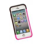 """Bumper для iPhone 5 """"LF"""" (пластик/розовый/черный/упаковка прозрачный бокс)"""