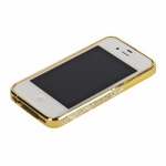 Bumper со стразами для iPhone 4/4S металл (золото)